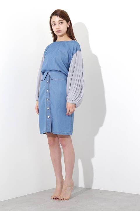 by FREE'S デニムハイウエストフロントボタンスカート