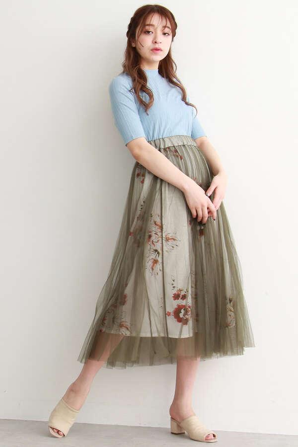 チュール重ね花柄ギャザースカート