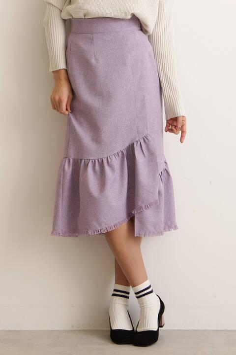 【andGIRL3月号掲載】麻調裾フリンジスカート