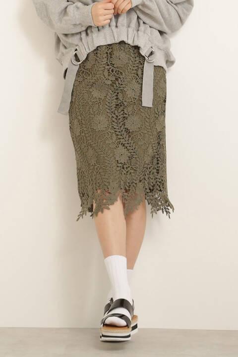 ランダムヘムレースタイトスカート