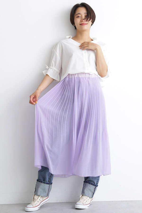 シア楊柳プリーツレイヤードスカート