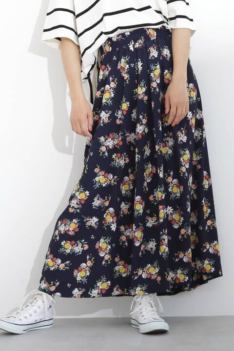 ブーケフラワー柄ロングスカート