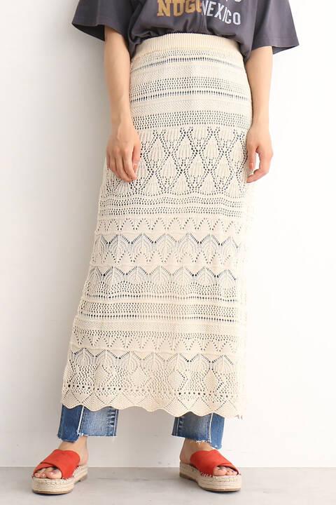 透かし編みニットレイヤードスカート