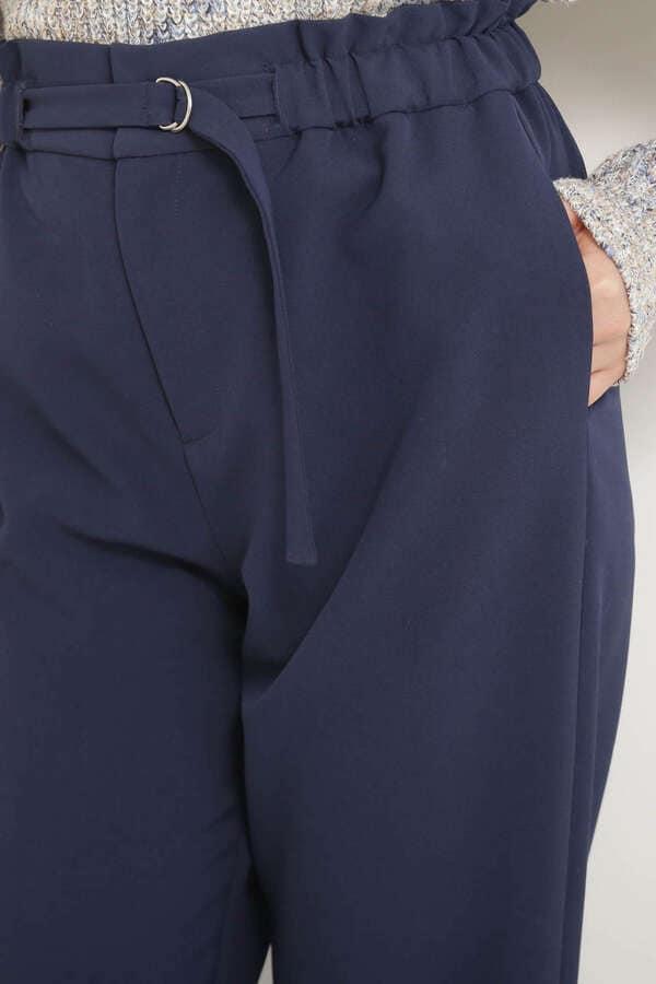 【美人百花3月号岸本セシル着用】【andGIRL3月号中村アン着用】D管ベルト付テーパードパンツ