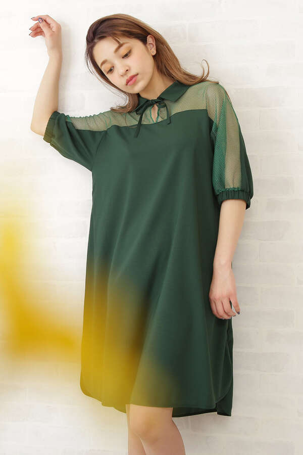by FREE'S メッシュコンビワンピース