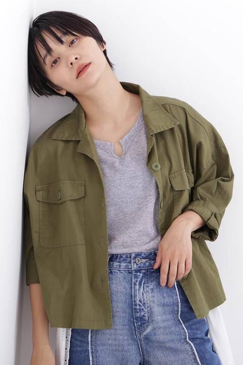 7分袖開襟ツイルシャツブルゾン