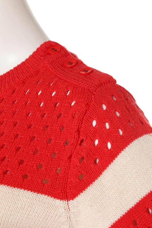 メッシュ編みボーダーマリンニット