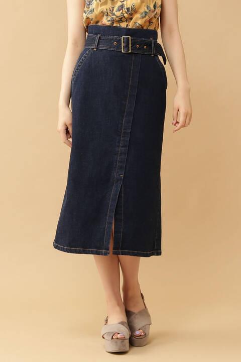 ベルト付ラップ風デニムスカート