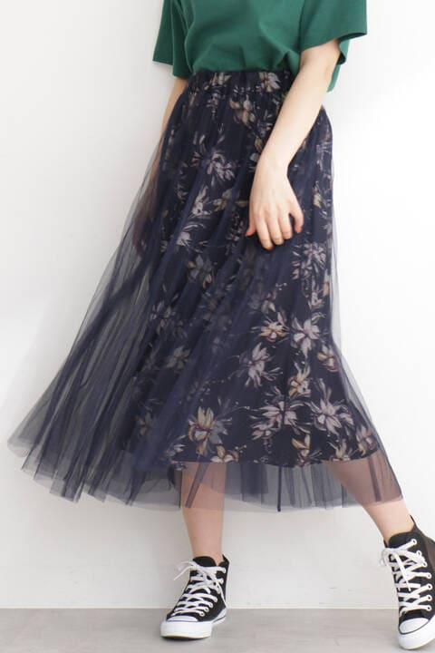 チュールレイヤード花柄スカート