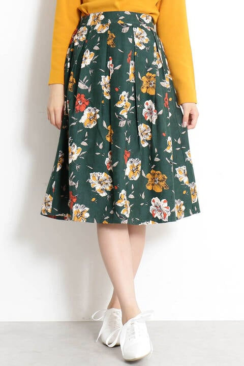 【先行予約9月下旬-10月中旬入荷予定】ピーチタッチ花柄フレアスカート