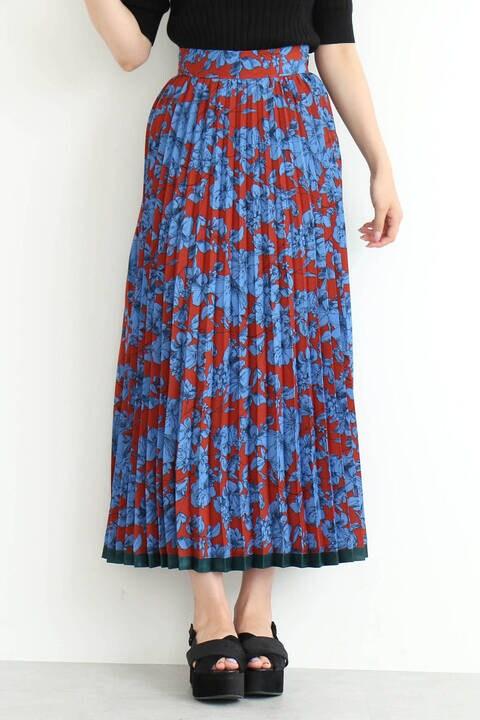 【先行予約9月中旬-9月下旬入荷予定】裾ラインフラワープリーツスカート