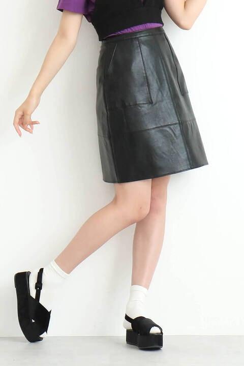 【先行予約9月中旬-9月下旬入荷予定】フェイクレザーAラインスカート
