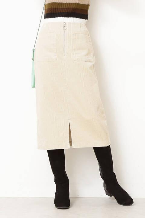 太コーデュロイフロントジップスカート