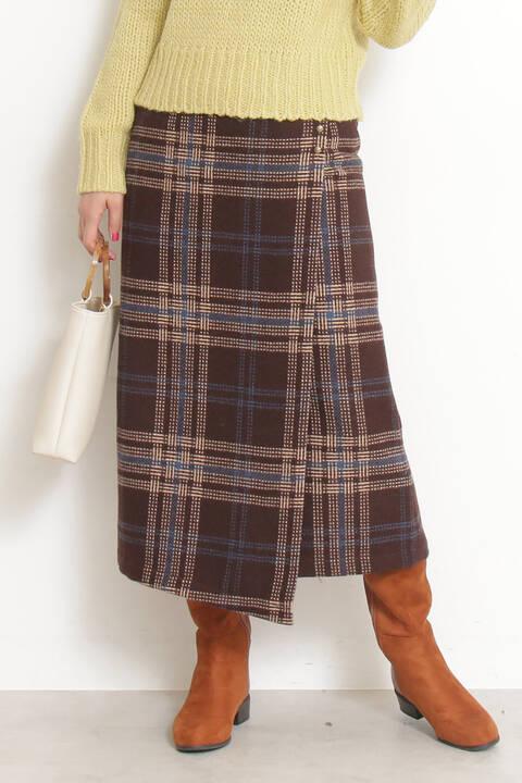 ツイードロングラップタイトスカート