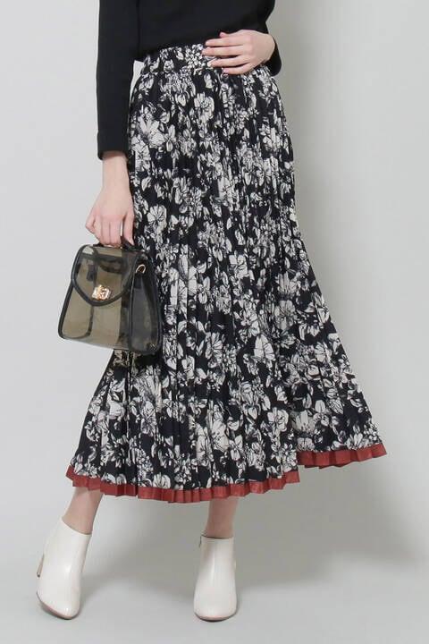 裾ラインフラワープリーツスカート