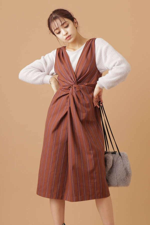 【川島海荷着用】バックツイスト2Wayストライプジャンパースカート