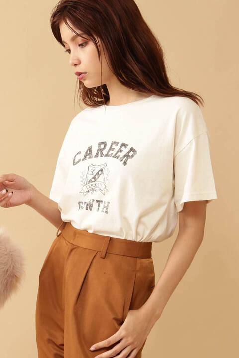 かすれプリントカレッジTシャツ