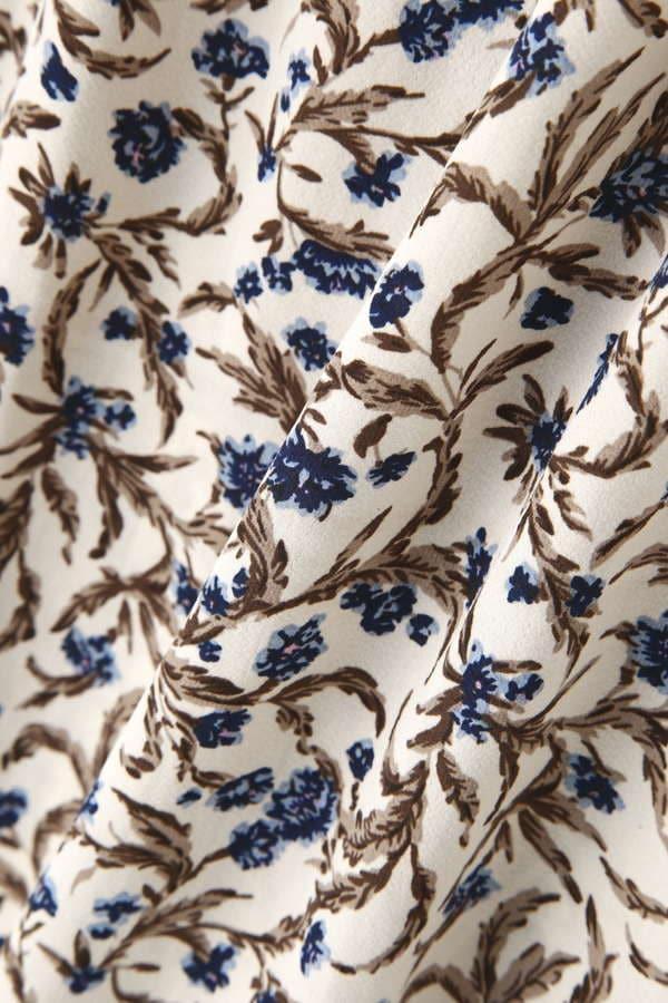 オリエンタル小花柄ギャザーフレンチスリーブブラウス