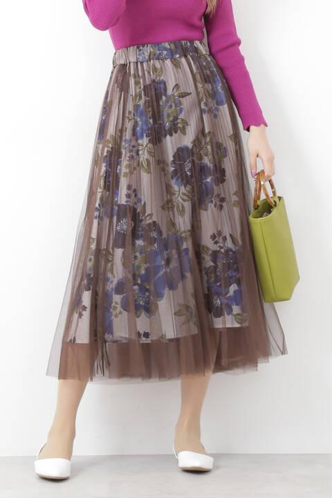 チュールレイヤードミモレ丈スカート