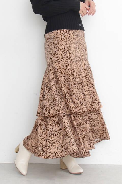 【追加生産予約3月中旬-3月下旬入荷予定】《Emma着用》ハイウエストダルメシアンティアードスカート