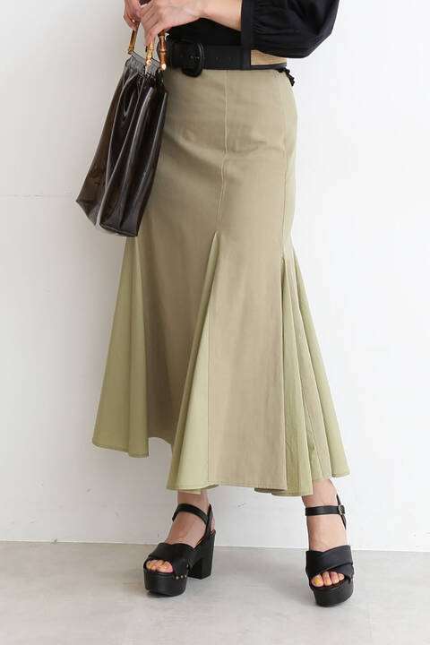 異素材MIXマーメイドフレアスカート