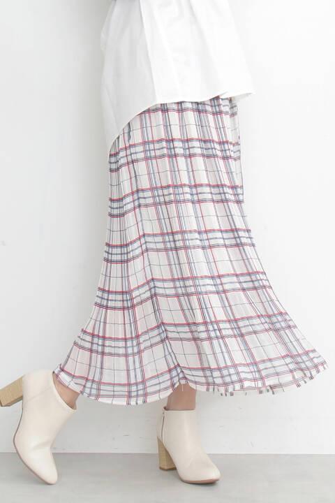 《Emma着用》消しプリーツチェックマキシスカート