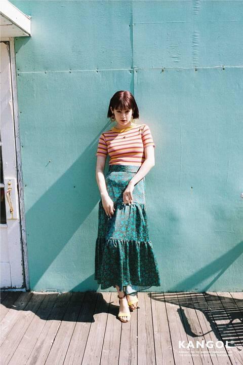 小花柄ティアードマキシスカート