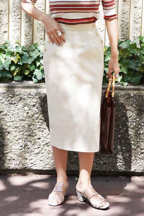 【先行予約5月下旬-6月上旬入荷予定】ポケット釦 サイドスリットタイトスカート
