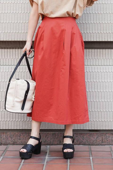 ハイウエストタックロングスカート