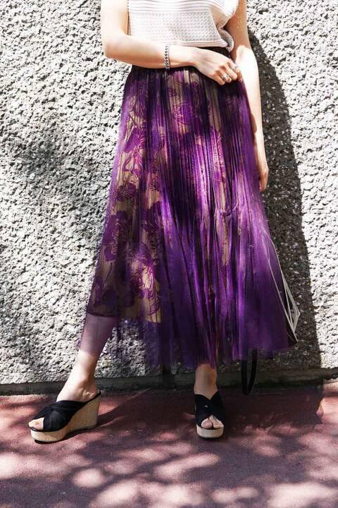 【先行予約5月下旬-6月上旬入荷予定】チュールレイヤードミディ-丈スカート