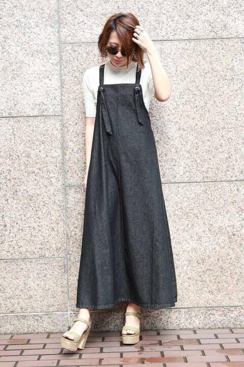 テントラインデニムジャンパースカート