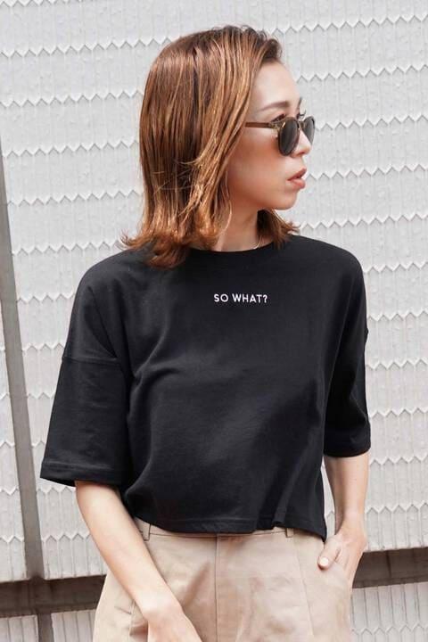 刺繍ロゴ短丈Tシャツ