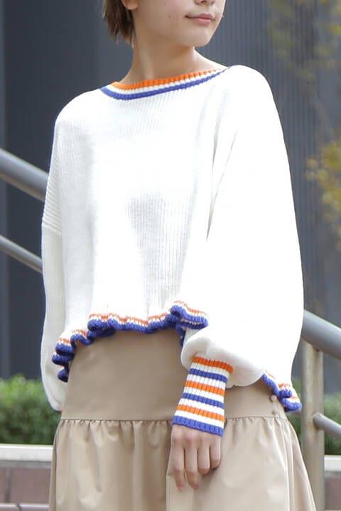 カラーライン裾フリルニット