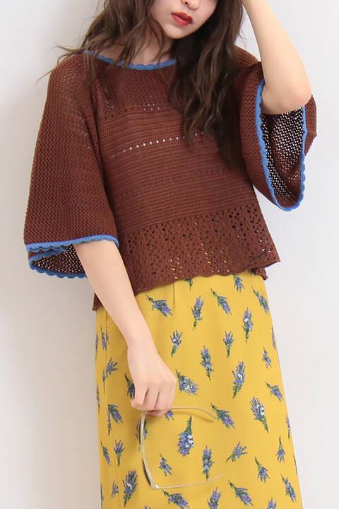 かぎ編み風フレア短丈ニット