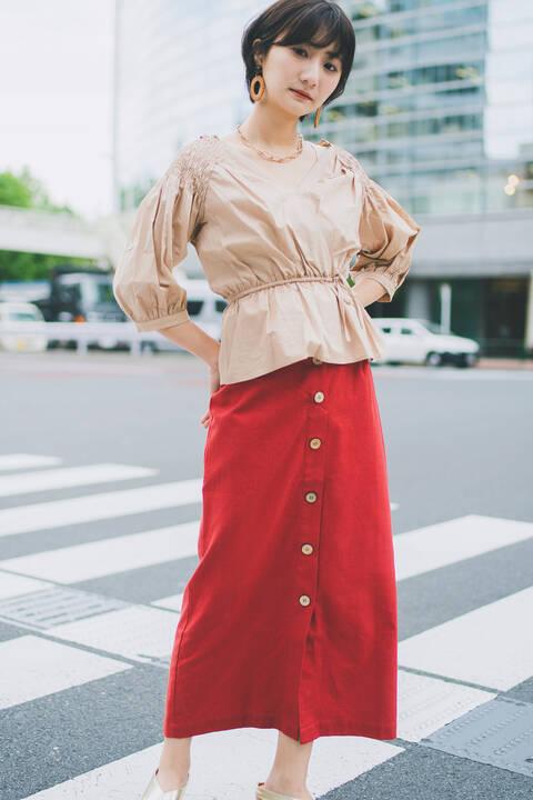 麻混フロントボタンロングスカート