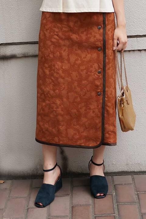 【先行予約8月下旬-9月上旬入荷予定】花柄ジャガードラップ風ミモレ丈スカート