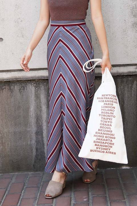 【先行予約8月中旬-8月下旬入荷予定】バイヤスストライプナロースカート