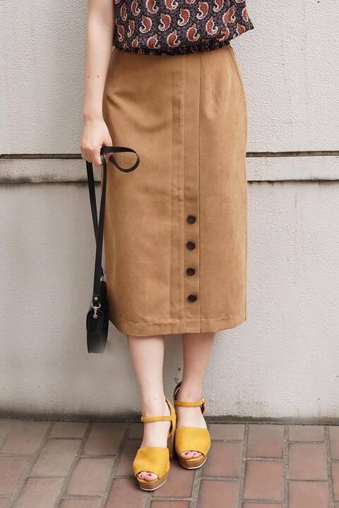 【先行予約9月上旬-9月中旬入荷予定】スリット釦ピーチタッチタイトスカート