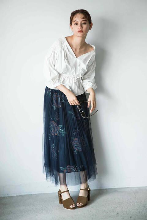 【先行予約9月上旬-9月中旬入荷予定】消しプリーツチュール重ね花柄スカート
