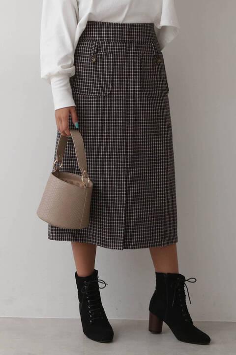 カラーチェックペンシルスカート