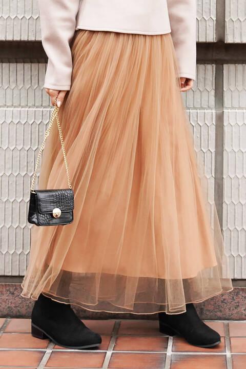 チュールロングスカート