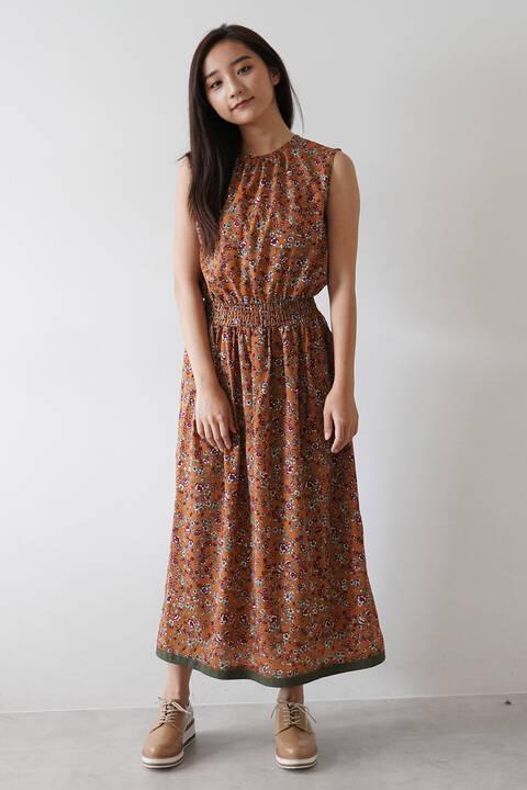 レトロフラワー裾ライン切替ワンピース