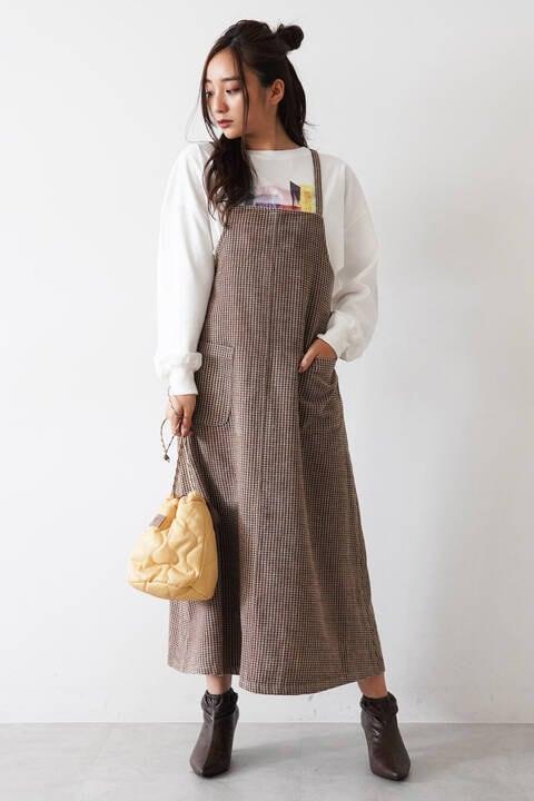 モールチェックジャンパースカート