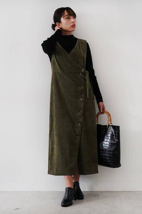 カシュクールコーデュロイジャンパースカート