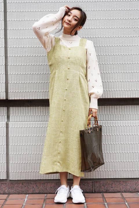 モールチェックIラインジャンパースカート