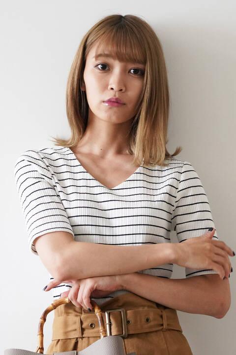 三角テレコVネック半袖カットソー①