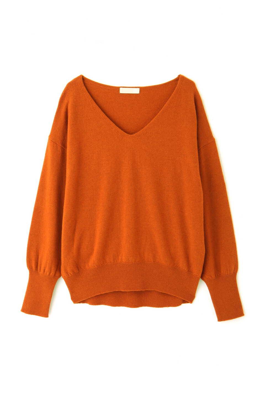 【公式/フリーズマート】カシミヤ(10%)Vネックニット/女性/ニット/オレンジ/サイズ:FR/羊毛 90% カシミヤ 10%