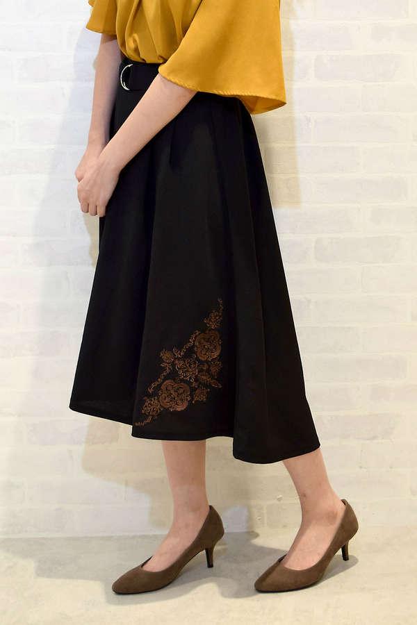 ベルト付刺繍フィッシュテールスカート