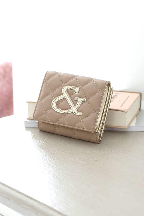 バイカラーロゴ キルティング二つ折り財布