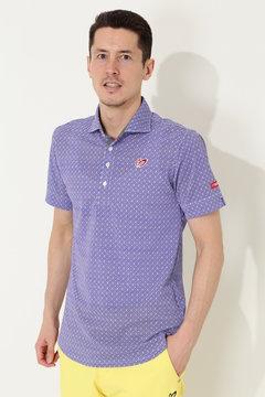小紋バティックプリント ポロシャツ